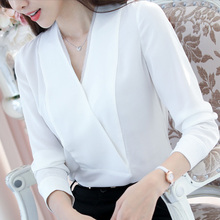 Buy LINPEIHAN 2017 Fashion Women Blouses Spring Summer New Long-sleeved White OL Professional Shirt Sexy V-neck Chiffon Shirt for $15.99 in AliExpress store