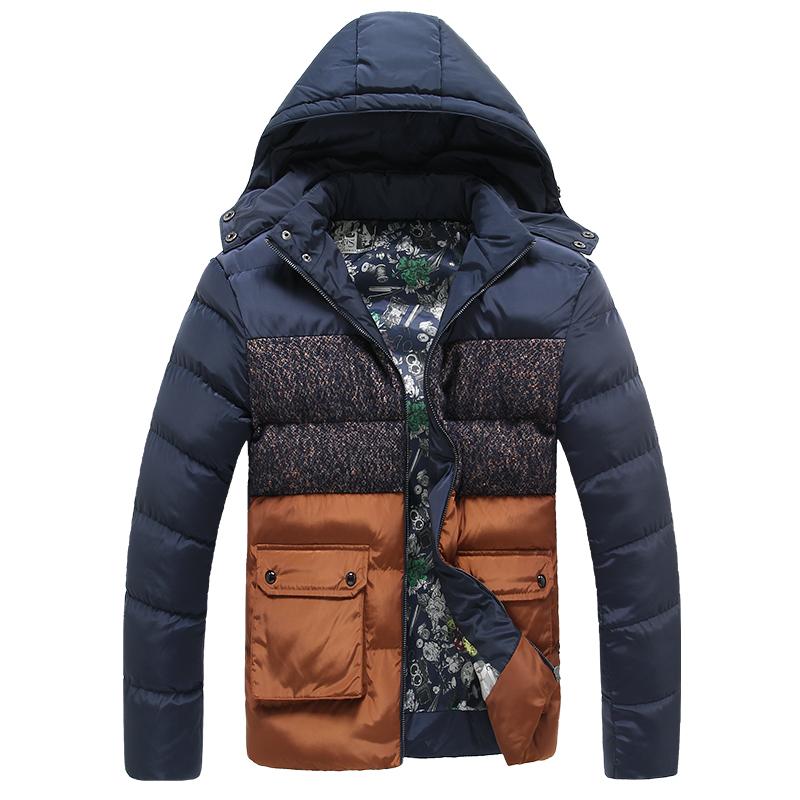 Free Shipping Classic Brand Men Fashion Warm Orange Jackets Plus Size M-3XL Patchwork Plaid Design Young Man Casaul Winter Coats