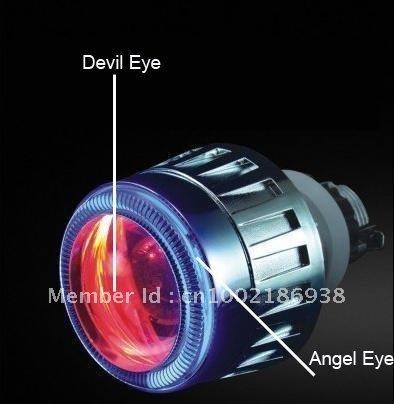 Freeshipping 2.5 inch HID Bi-Xenon Projector Lens Light+Devil Eyes+ Angel Eyes High Quality