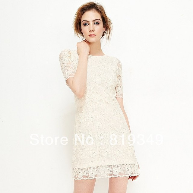 2013 New VANCL Women Dress Eleanor Sweety Lace Crafted Fine Lace Fabric Soft Touch Silky Look Dress Ecru White FREE SHIPPING