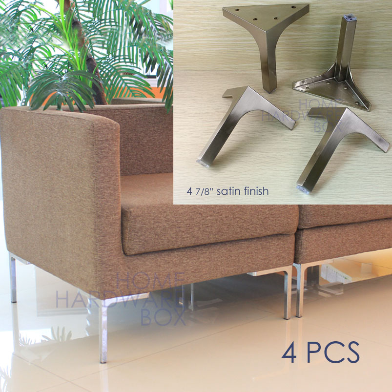 12cm furniture metal table sofa leg cabinet feet satin stainless steel square 4x(China (Mainland))