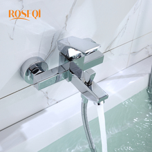 Buy Zinc Alloy Wall Mounted Waterfall Bathroom Shower Faucet Brushed Spout Mixer Tap Temperature Controlled Bathtub Faucets for $42.91 in AliExpress store