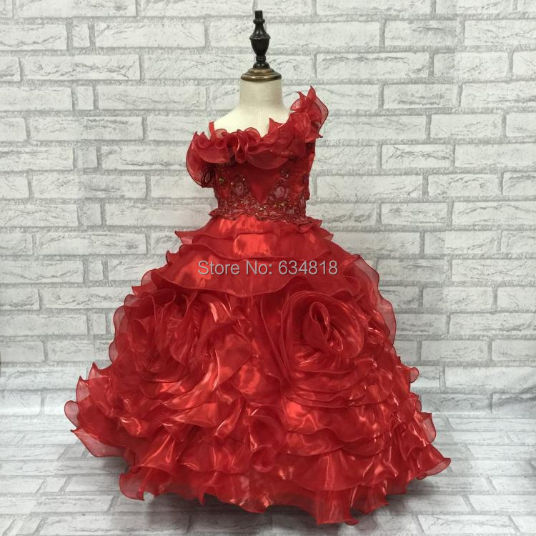 Stock Sale One Shoulder Girls Pageant Dress 2015 New Fluffy Kids Ball Gown Organza Flower Girl Dresses For Wedding Party 1585B(China (Mainland))