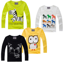 New 2015 children t shirts, cotton long sleeve boys and girls T-shirts, Hot sale pattern, cute round neck pullovers