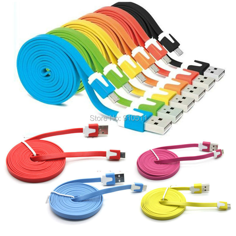 !! 3m Flat Noodle Micro USB Cable Sync Data Charging Samsung Galaxy Nokia HTC Phones - HK Maxshining Technology Limited store