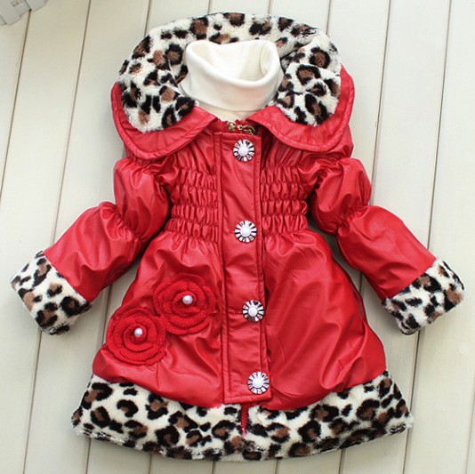 4pcs/lot 2014 Autumn Winter Outerwear Girls Fashion Leopard Thick Cotton Padded PU Leather Coats &amp; Jackets For Children ZZ2467<br><br>Aliexpress
