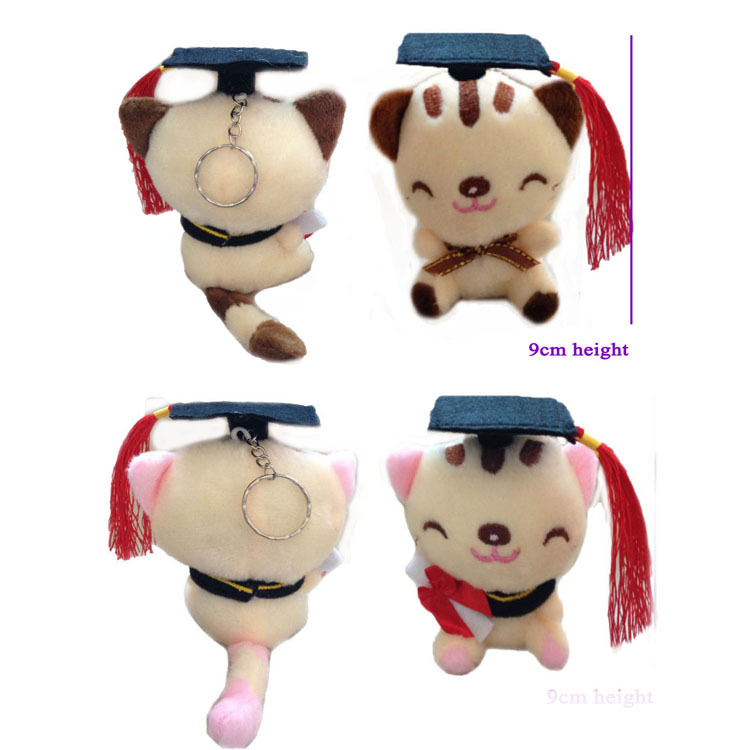 2 pcs/lot, HOT 2015 New new plush toy 9cm cute graduation cat face doll, stuffed gift - JNJ Plush Toy Co. store