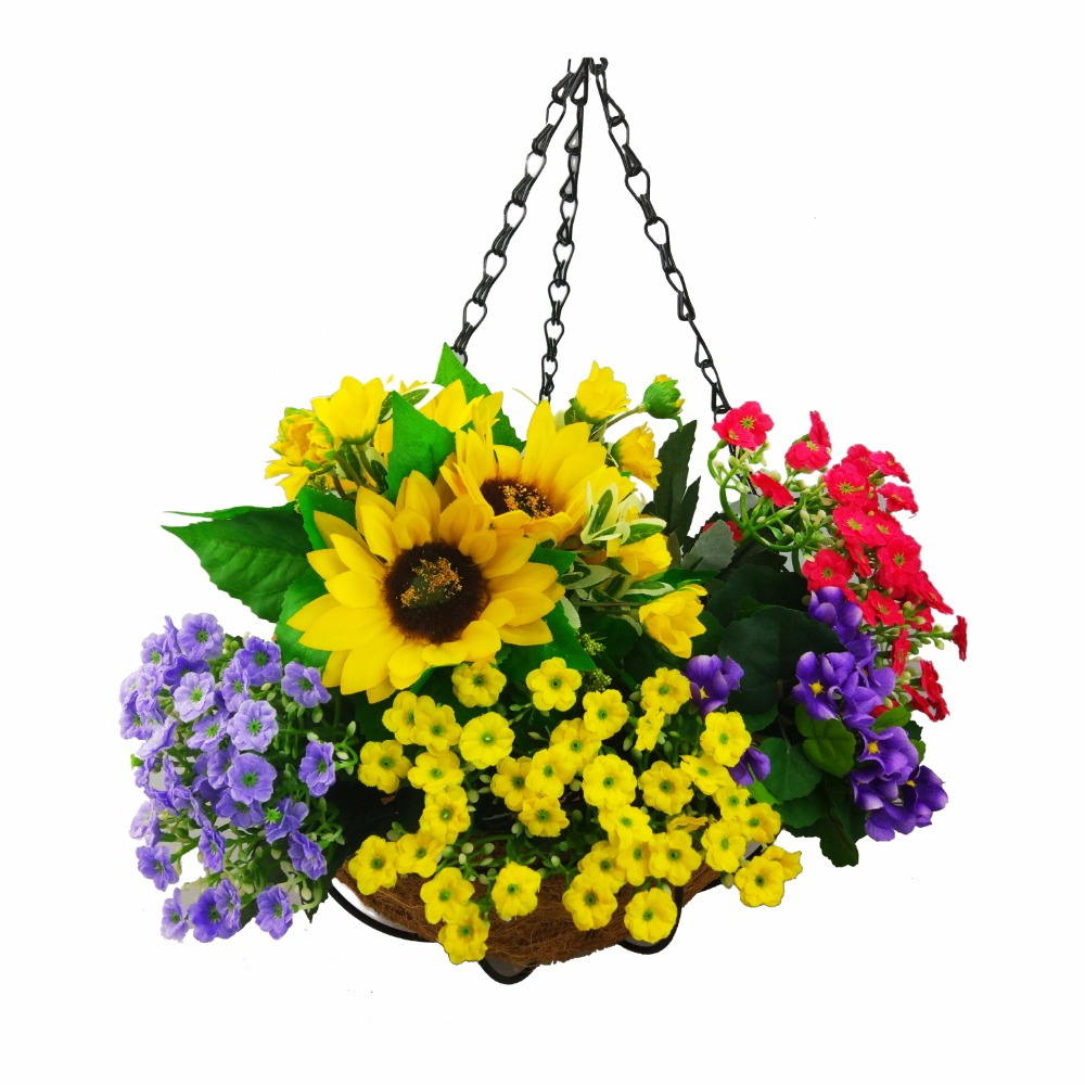 Decorative Hanging Flower Baskets : Cm wrought coconut flowerpot hanging pots rattan