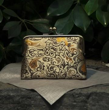15 New Handmade Silk Chinese YellowFashion Brocade Money Cards Small Packet Mouth Gold Metal Frame Women Handbag Finish Product(China (Mainland))