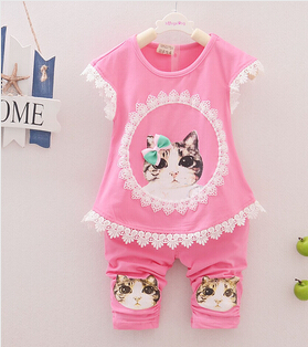 2015 Summer Kitty Baby girls clothing set Children Cotton Clothes Set Kids Girls The little girl vest +short pants 2pcs suit(China (Mainland))