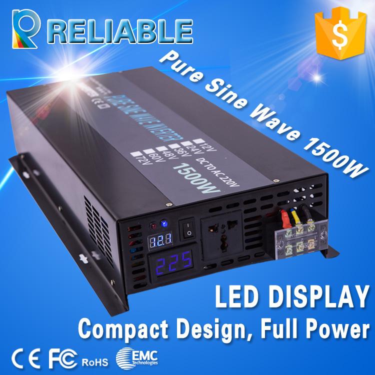 LED Display 1500W Pure Sine Wave solar Power Inverter DC TO AC converter 3000W peak power battery Inverter(China (Mainland))