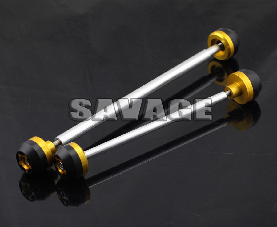 CNC Aluminum Front & Rear Axle Fork Crash Sliders Wheel Protector For SUZUKI GSR 600 2006-2010 Gold