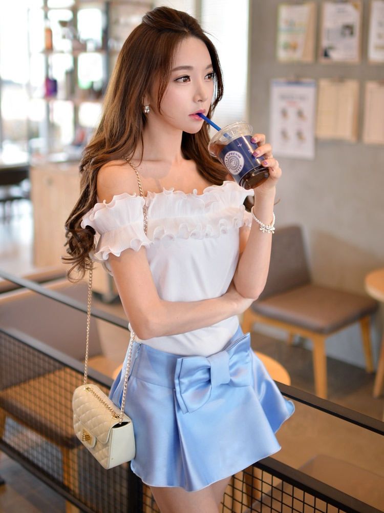 dabuwawa short sleeved t-shirt summer 2016 korean new all-match slash neck white cute t shirt top women