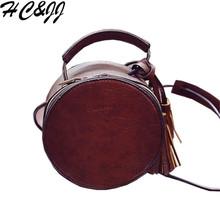 2016 New Simple Round Tassel Doctor Bag Black Type Women's Bag For Girls Women Messenger Bag Bolsa Feminina HC0166