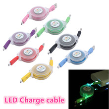 LED Light Durable Micro USB Cable Charger Data Sync Cord For Samsung Android phone 80cm(China (Mainland))