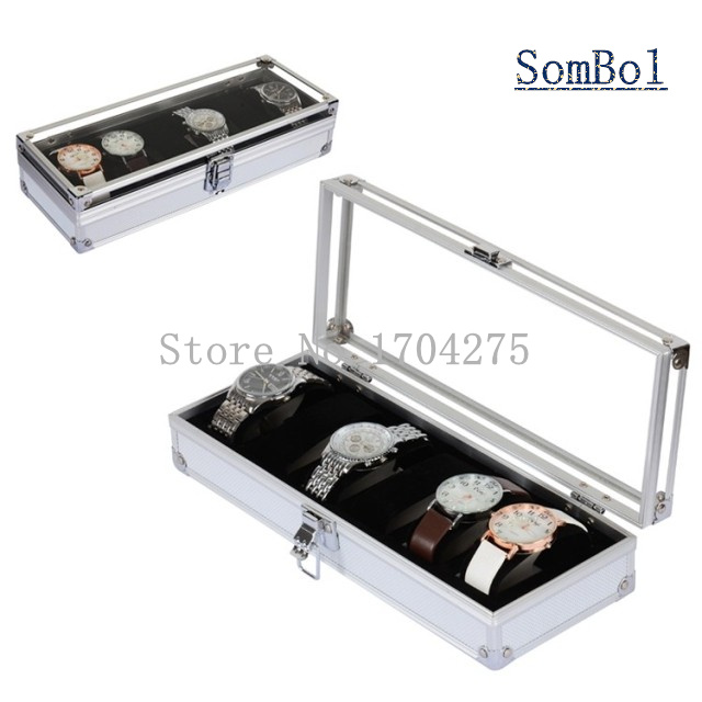 6 Grids Aluminium Alloy Watch Box Leather And PU Display Boxes Fashion Storage Watch Boxes With Lock 452<br><br>Aliexpress