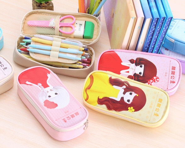 [YYYYAAAA] Sweet princess multifunction PU pencil bags stationery bags students pencil pen case cosmetic makeup bag zipper pouch