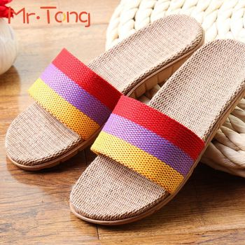 Color Striped Linen Summer Style Couple Slipper Women Men Comfortable Breathable Flax Knit Indoor Shoe For Ladies Pantufas