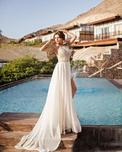 Sexy Bohemian Beach Wedding Dress 2016 Halter Neck Backless Lace Chiffon Boho Bridal Gowns Custom Made Cheap Vestido De Noiva(China (Mainland))