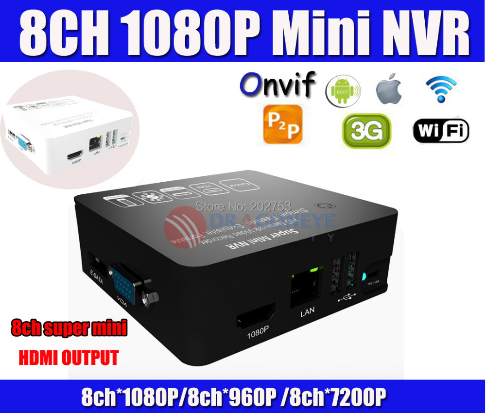 Onvif 8CH 1080P Super Mini NVR Network HD Video Recorder 3G WIFI Audio HDMI Output P2P Supports PC&Mobile View Security CCTV NVR(China (Mainland))