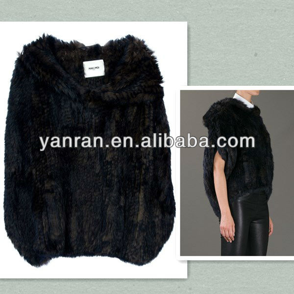 YR-516 Genuine Ladies Handknitted Rabbit Fur Sweater Hood Mink dyed color ~Drop shipping~~retail~OEM - Tongxiang Yanran Factory store