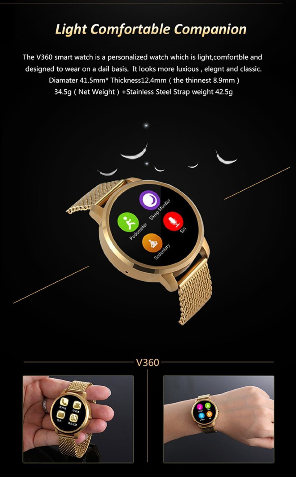 New V360 Smart Watch for  with Siri function update DM360 support Dutch Hebrew Apple iPhone Huawei Android ios Smartwatch