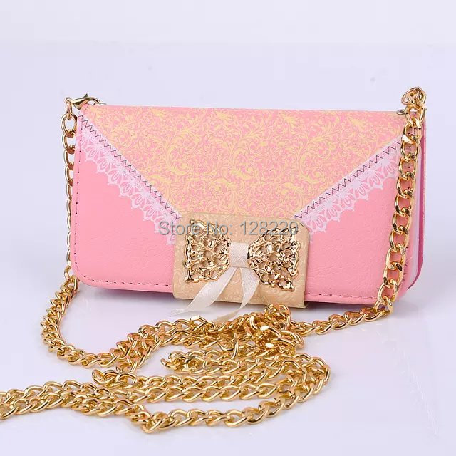Luxury Lace Bow Flip Wallet Card handbag Leather Case Cover iphone 6 4.7inch Gold Chain - Special Zone Trading Co.,Ltd store