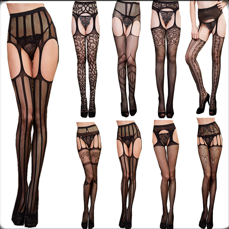 women sexy garter belt mesh tight stockings Thigh High Silk Stocking solid Fishnet Pantyhose sexy fancy night club stocking(China (Mainland))