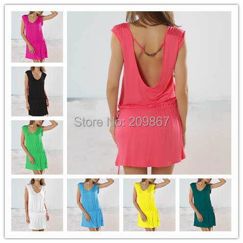 2015New arrival [BD001] Brand new women's solid color bikini dress, holiday beachwear casual dress skirt cover-ups free shipping