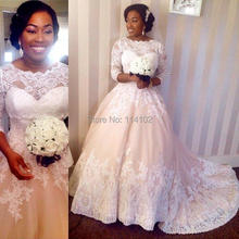 2015 Glamorous lace border appliques A-line wedding dresses with crew neckline 3/4 sleeves court train formal wedding gowns(China (Mainland))