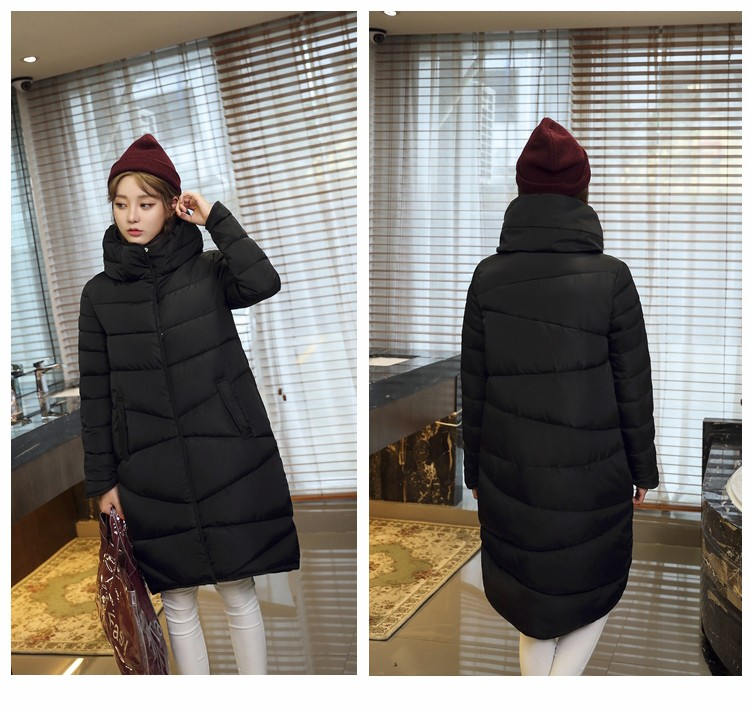 2016 Winter Women  Warm Jacket Cotton Padded Zipper  Casacos 4 Colors Long Coat Slim Thickened Plus Size Outwear CD549