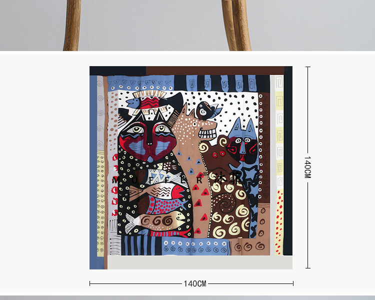 100%Natural Silk Cartoon Oil Printed Scarf 140*140CM Luxury Brand Women Winter Scarves Hijab Foulard Shawls Pareo Echarpe S6