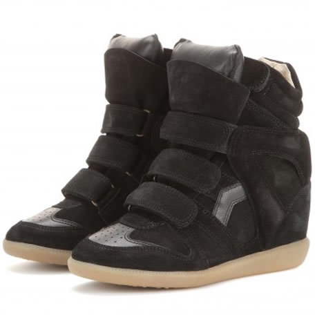 Isabel Marant Bekett Calf Leather and Suede Wedge Sneakers,Size 35~42,Original Box Dust Bag,Height Increasing 8cm,Women's Shoes(China (Mainland))