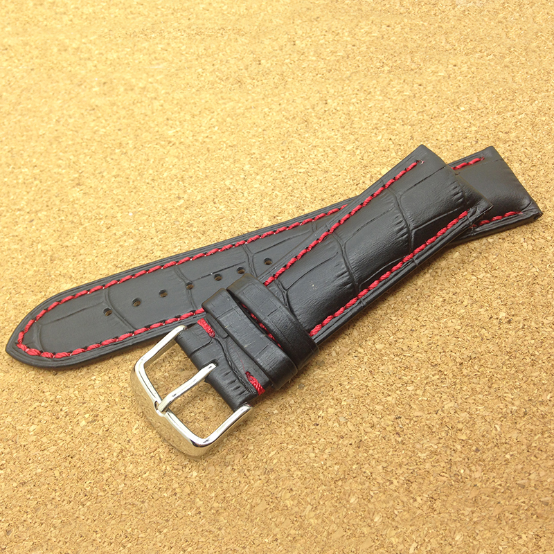 Italian Leather Watchband black and coloured rally watch strap Lined red white 18mm 20mm 22mm for wristwatch men accessories new<br><br>Aliexpress