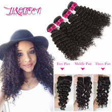 6A Virgin Brazilian Deep Wave With Closure Remy Queen Hair Brizilian Virgin Hair With Closure Brazilian 3 Bundles With Closure