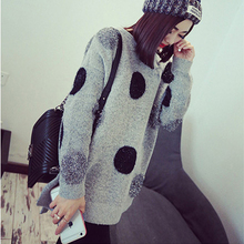 2016 New Women Sweater Short In Front Long Liangsi Silver  Point Dot Loose Women Round Neck Women Sweaters And Pullovers MY052(China (Mainland))