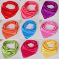 Pure Color Silk Square Scarf Neckerchief Work Wear satin scarves Women Hair Bandanas Headwear 60 60cm