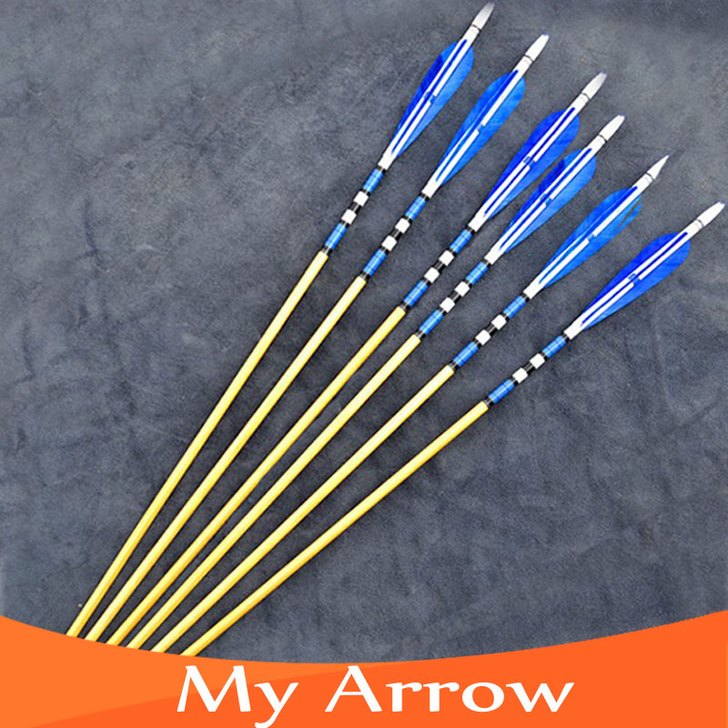 30 Inch 6pcs Wooden Archery Arrows Traditional Wooden Arrows For Compound Bow 80cm Archery Wooden Arrows