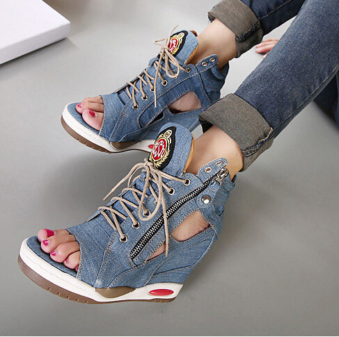 Fashion denim lacing elevator wedges casual high sandal women's shoes canvas cut-outs flatplatform flat plus size - Smiley's fashion shop store