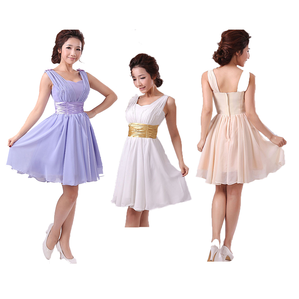 Wedding bridesmaid chiffon short formal party dress plus for Plus size wedding party dresses