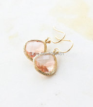 New Design Fashion Style Wholesale Peach Stone Earrings Wedding Earrings Dangle Earrings  Bridesmaid Gift for women wedding(China (Mainland))