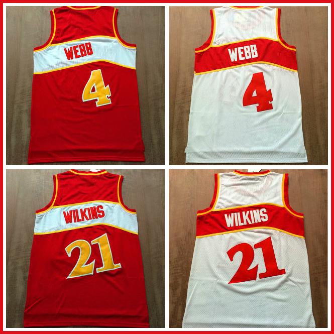 Гаджет  ATLANTA #4 Spud webb #21 Dominique Wilkins Basketball Jerseys, Cheap Retro Basketball Jerseys Wilkins and Webb Embroidery Logos None Спорт и развлечения