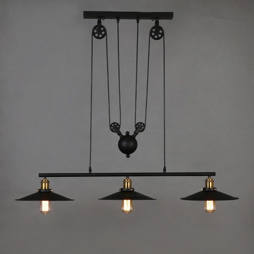 Loft retro wrought iron black vintage chandeliers industrial adjustable pulley pendant lamps e27 - Classic wrought iron chandeliers adding more elegance in the room ...