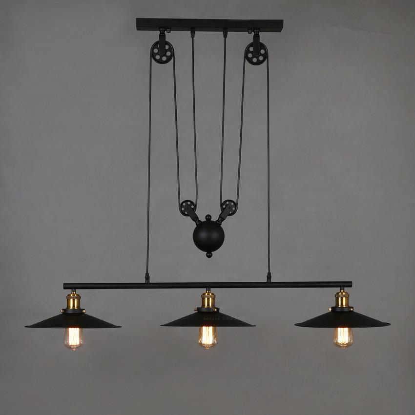 adjustable pulley pendant lamps e27 edison lamps home light fixture. Black Bedroom Furniture Sets. Home Design Ideas