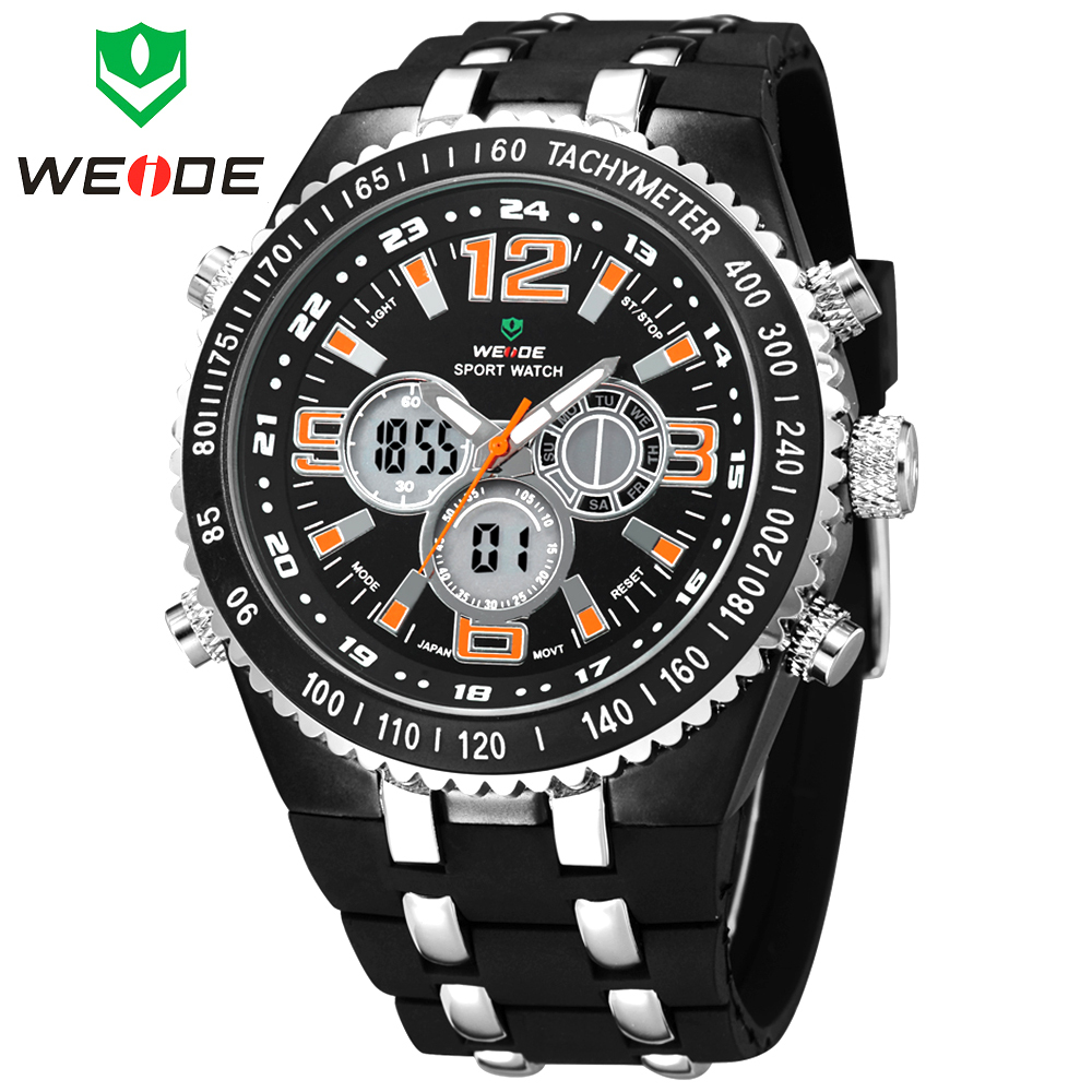 WEIDE Analog Digital LED Watches Full Steel Case Date Day Alarm Mens Sports Outdoor Dive Quartz