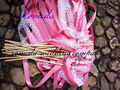 50Pieces Lot Style D dark pink ribbon with white lace wedding wands with bell Wedding