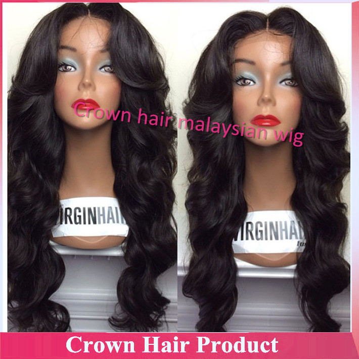 Unprocessed Virgin Malaysian Lace Front Wig Body Wavy Glueless Full Lace Wigs With Baby Hair Bleached Knots For Black Women(China (Mainland))
