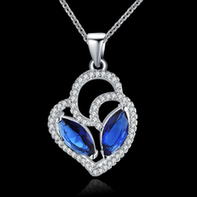 Free shipping hot selling , women jewelry inlaid blue stones necklace , high quality 925 silver necklace , charm & nice jewlery