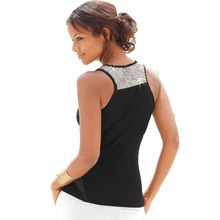 Buy Sexy Women T- Shirt Sleeveless Fashion Casual Vest Tops Tee O Neck Solid Blusas Sequined T Shirt Female Clothes Plus Size 3XL for $6.32 in AliExpress store