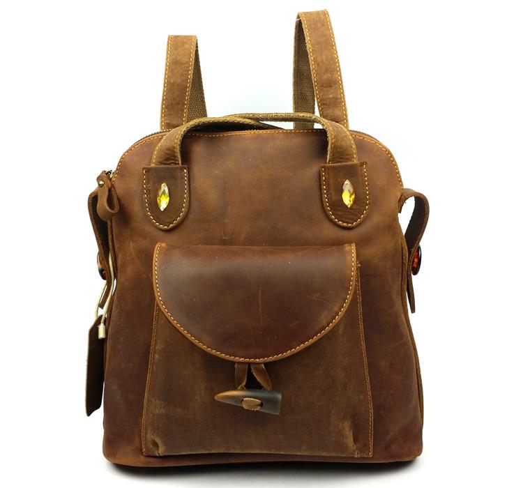 New Vintage Fashion Casual 100% Genuine Crazy Horse Leather Cowhide Women Backpack Backpacks School Bag Handbag Bags For Ladies